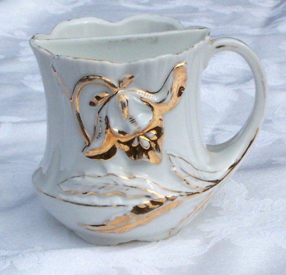 Tea Mug w built in infuser and gold painted decoration