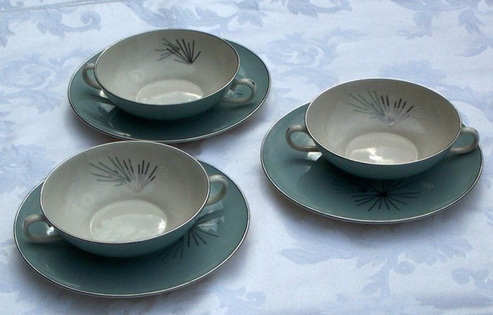 SOLD Franciscan Silver Pine two handle cups or bowls 5 inch wide set of 3