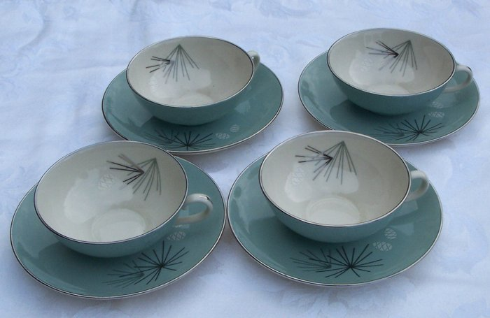 Franciscan Silver Pine tea cups 4 inch wide set of 4