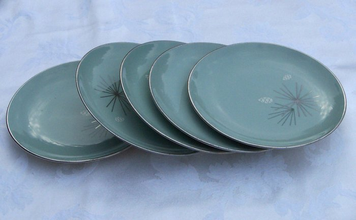 Franciscan Silver Pine Bread Plate 6 3/8  inch set of 4