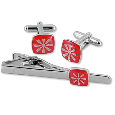 Daisy by WT Accessories red tie clip and cufflinks