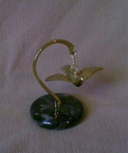 BRASS BIRD ON MARBLE STAND