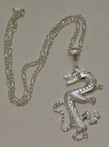 "SILVER-TONE HIP HOP ""DRAGON"" NECKLACE"