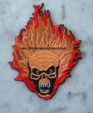 Biker Patch / Embroidered / Skull Red Flames