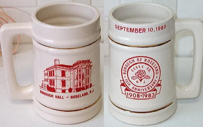 Borough of Roseland 75th Anniversary Stein 1908-1983