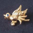 Bird w/ blue stone eye Lapel Pin GoldTone New!