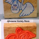 Flying Stork With Baby Wood Back Stamp New!