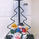 Christmas Snowman Family Green Candle Holder