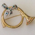 Vintage french horn christmas pin