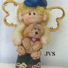 "Ceramic Little Boy Angel w/ puppy pin 2 1/4"" tall"