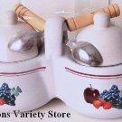 JHouston Harvest DOUBLE JELLY JAR w/ Lids & Spoons