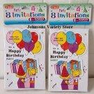 SET OF 2 PKS OF 8 BIRTHDAY PARTY INVITATIONS (16)