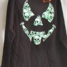 Jack-o Skull design T-shirt Long Sleeve Black/green goth
