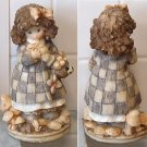 "Sweet 5.75"" tall Resin Curly Hair Girl Collecting Mushrooms Holding Bunny"