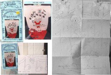 "Glenda's Easy Iron On Fashion Pattern Music Mice 17"" X 22"" Glenda Betz NEW"