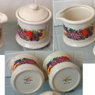 Cornucopia Pattern Porcelain China Covered Sugar Bowl & Creamer