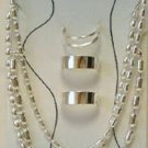 Trio Anklets & toe rings (3 each) silvertone Both adjustable