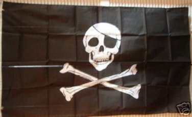 New Pirate 3' X 5' SKULL w/ Patch & CROSSBONE FLAG