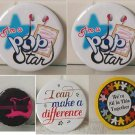 Set Of 5 Button badges POP Star, Together, Defference & Guitar