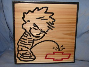 """Small 9 x 9 """"Piss On"""" Wood Sign"""