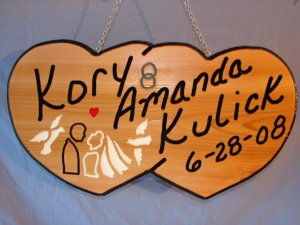 Double Heart Personalized Wood Sign