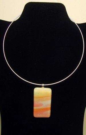 "Designed and Handcrafted Aurora Borealis Fused Glass Choker 2 1/2"" Pendant"