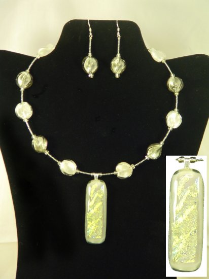"Designed and Handcrafted Dichroic Gray 18"" Fused Glass Memory Choker Set 2 1/2"" Pendant"