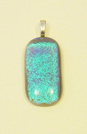 "Handmade 1 1/2"" Ocean Fused Glass Dichroic Pendant Gray and Blue Dichroic"