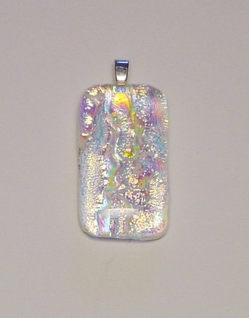 "1 1/2"" Rainbow Fused Glass Dichroic Pendant Reflects Pinks Blues and Golds"