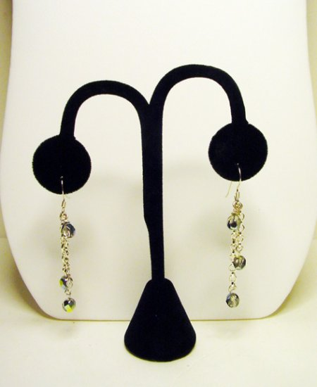 "Handcrafted 2 1/2""  Swarovsky  Chain Earrings 3 Lenghts of Chains"