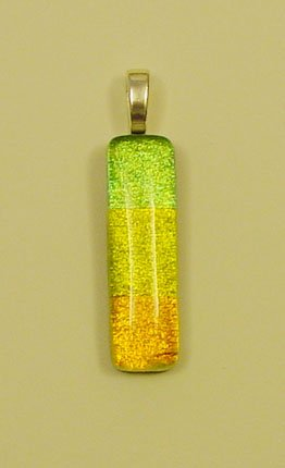 "1 1/2"" Tridichro Fused Glass Dichroic Pendant 3 Dichoic Glass Fused Together"
