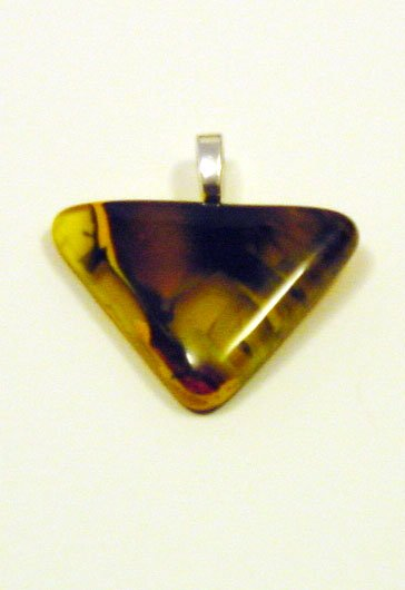 1 1/2 Handcrafted Tornado Fused Glass Pendant Glass was made to look 3D