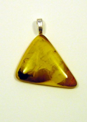 Handcrafted 1 1/2 Earth Tones Fused Glass Pendant Glass was Designed and looks 3D