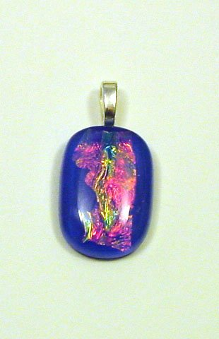 "Handcrafted 1 1/4"" Blue Night Fused Glass Dichroic Pendant Dichoic Reflects Rainbow Colors in Light"
