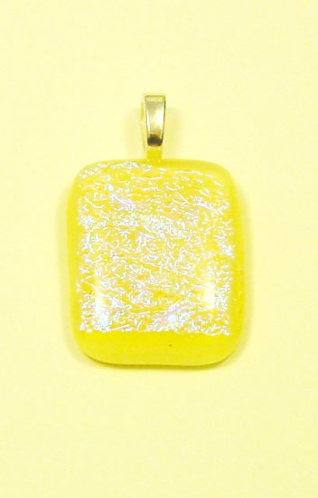 "Handcrafted 1 1/2""Vanilla Sparkles Dichroic Fused Glass Pendant with Light Blue Dichroic"