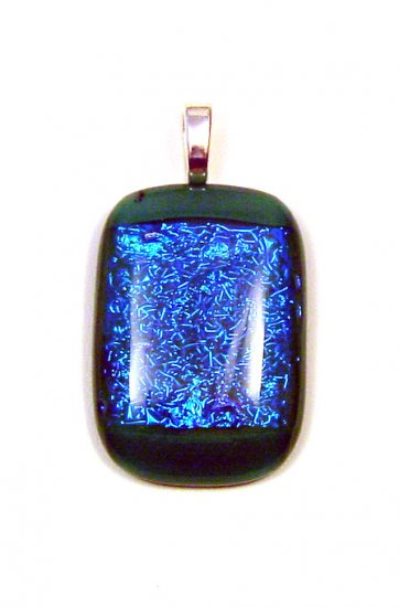 1 1/2 Green Glass Fused Pendant with Blue Dichroic Glass