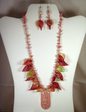 """Designed and Handcrafted Elegant Leaves Fused Glass 18""""Necklace Set 2"""" Dichroic Pendant"""