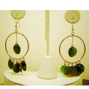 Handcrafted Light Blue and Green Chandelier Earrings