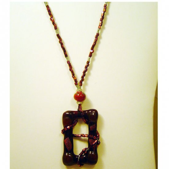 Handcrafted Dark Red Fused and Dichroic Glass w Lamptorched Bead
