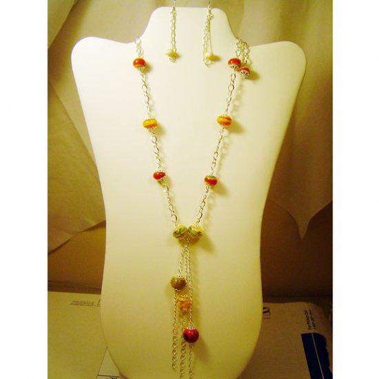 Handcrafted Lamptorched Beads Necklace and Earrings