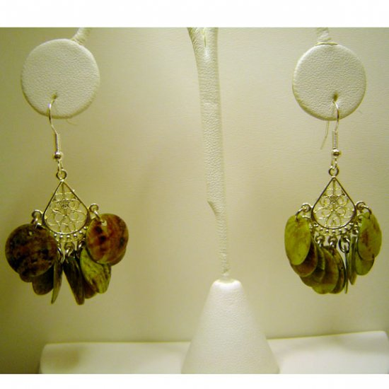 Handcrafted Green Chandelier Earrings