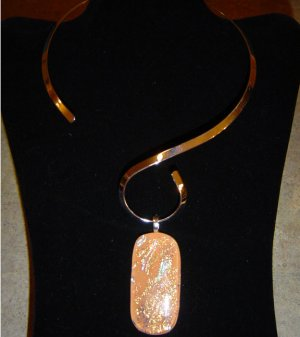 Stunning Dichroic Orange and Gold Pendant with Silver color Choker