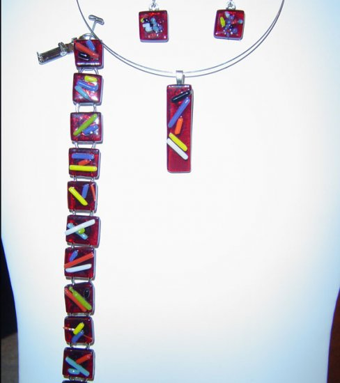 Red Glass Pendant, Earrings and Bracelet with Assorted Colors