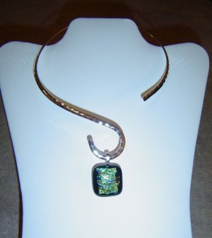 Blue/Green Dichroic Glass Pendant and Hammered Choker