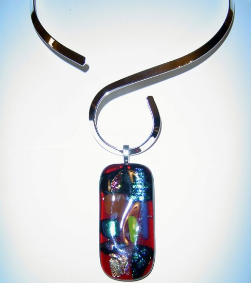 Red Assorted Colors Dichroic Glass Pendant with Choker