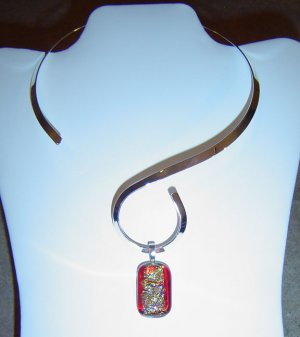 Red Dichoic Glass Pendant with Silver color Choker