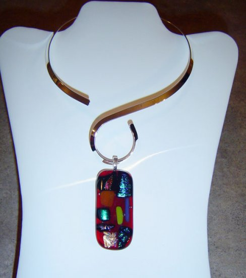 Red with Assorted color Dichroic Glasses Pendant