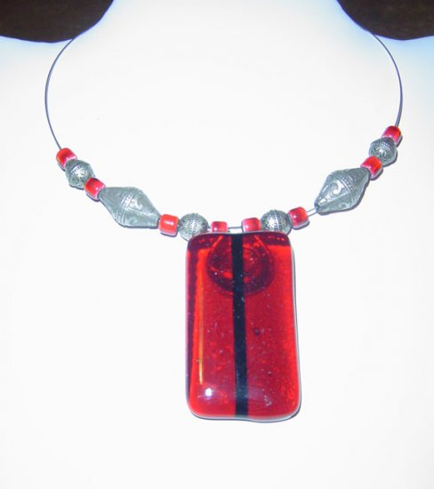 Red with Black Fused rod Glass and Moroccan Style Beads