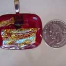 Fused Glass Red and Dichroic Pendant