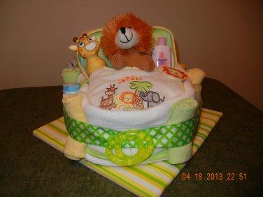 Safari Bath Time Bassinet Diaper Cake